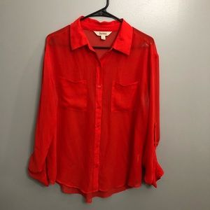 Decree- long sleeve red button down collared top